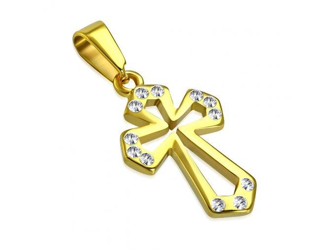Prívesok kríž z chirurgickej ocele, zlatá farba, číre zirkóny