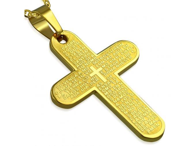 Prívesok s modlitdbou, kríž zlatej farby, chirurgická oceľ