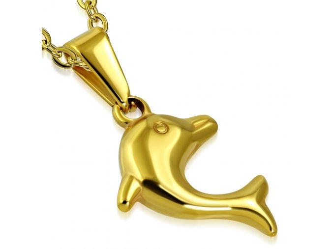 Prívesok z chirurgickej ocele, delfín zlatej farby