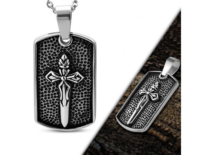 Prívesok známka z chirurgickej ocele, meč a patinovanie