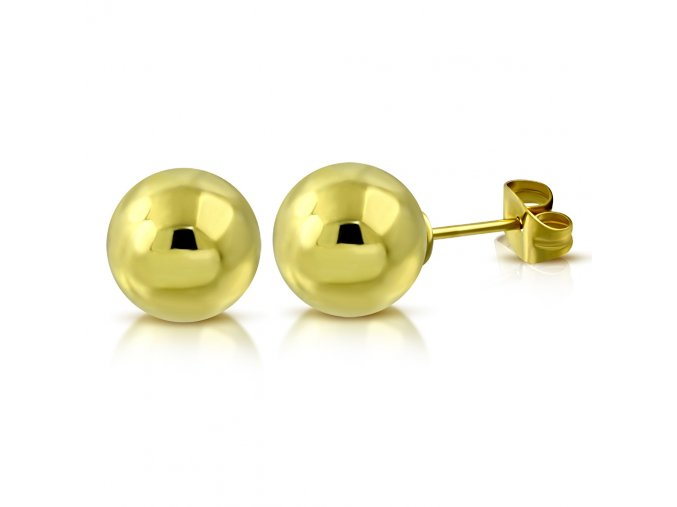 Dámske náušnice z ocele, zlatá farba, guličky 5 mm