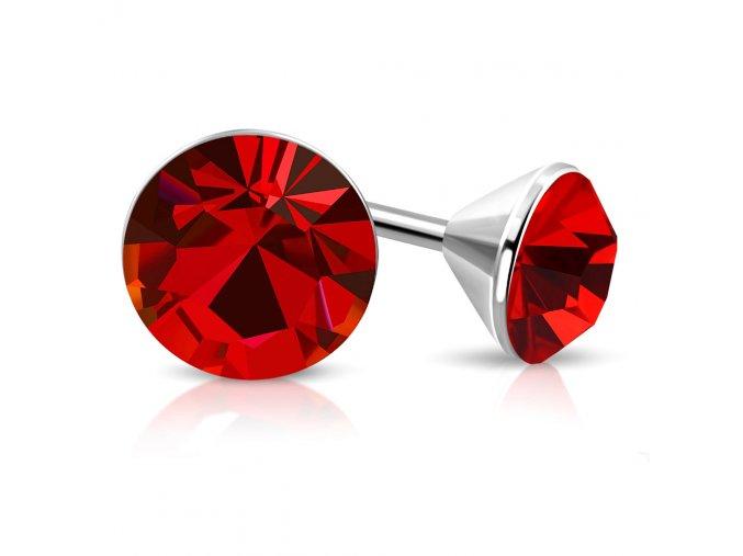 Náušnice z chirugickej ocele, strieborná farba, červený zirkón 5 mm