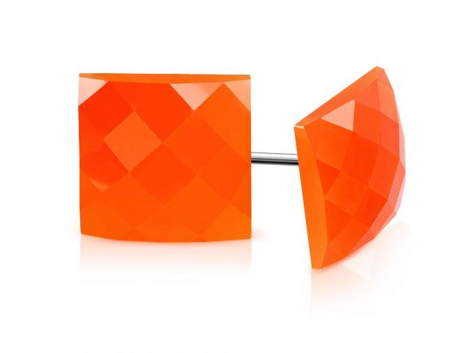 Dámské retro náušnice, oranžový disco štvorec, chirurgická oceľ