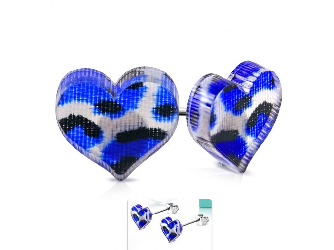 Puzetové náušnice z chirurgickej ocele so sdrcom, modrý leopardí vzor