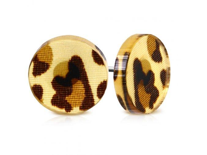 Okrúhle náušnice z chirurgickej ocele, hnedý leopardí vzor