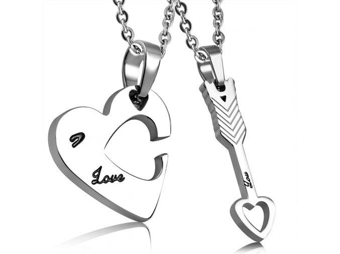 Prívesok pre dvoch z ocele, srdce a šíp, strieborná farba, Love