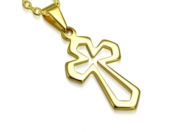 Prívesok kríž z chirurgickej ocele, lesklá zlatá farba