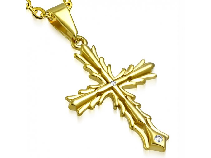 Prívesok kríž so zirkónom, chirurgická oceľ, zlatá farba