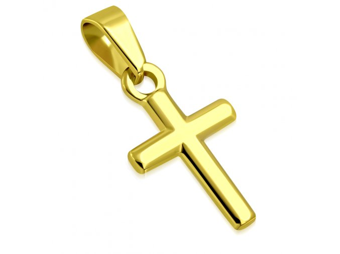 Prívesok maliý kríž z chirurgickej ocele, zlatá leská farba