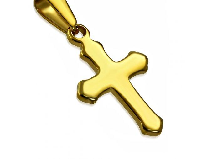 Prívesok na krk z chirurgickej ocele, kríž lesklej zlatej farby