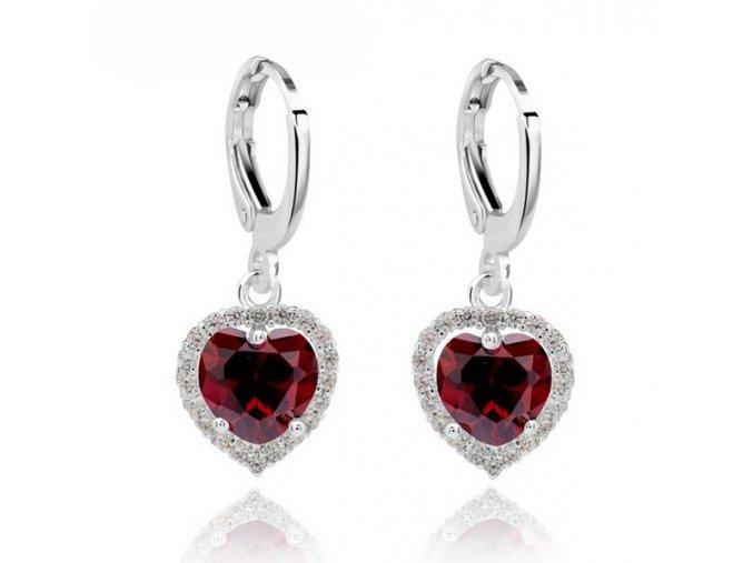 Drobné visiace dámske zirkónové náušnice, červené srdce, bižutéria