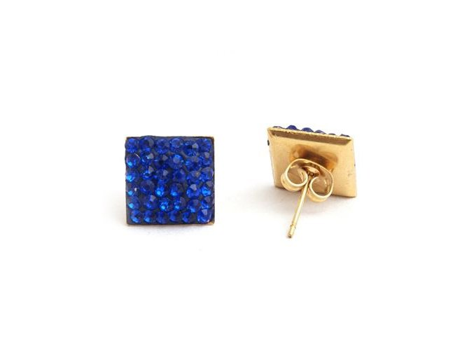 Náušnice z ocele so zirkónmi, štvorcové modré Shamballa puzetky