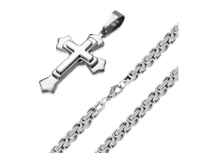 Pánska retiazka na krk s krížom, kráľovský vzor, oceľ, strieborná farba