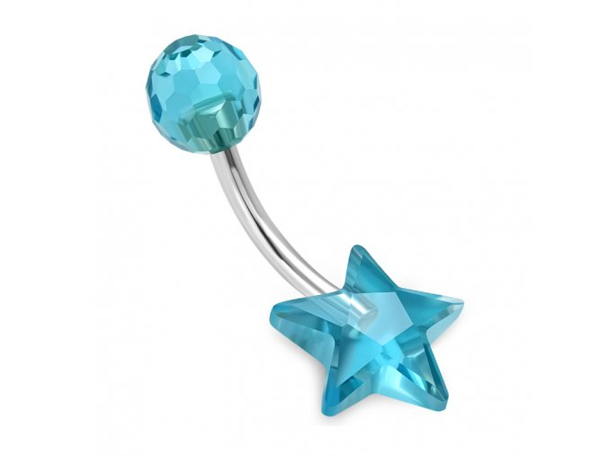 Piercing do pupka z chirurgickej ocele, blankytná hviezda