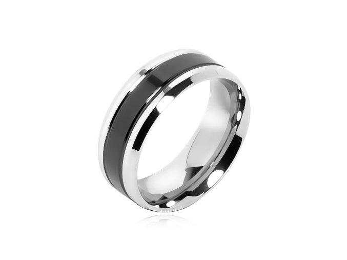 Prsteň z chirurgickej ocele, čierný glazúrovaný pás