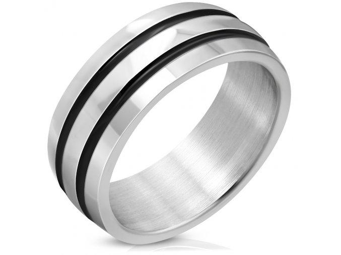 Prsteň z chirurgickej ocele, čierne glazúrované pásy