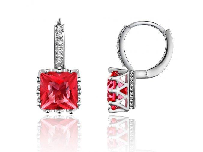 Dámske zirkónové náušnice, červený štvorcový kamienok, bižutéria