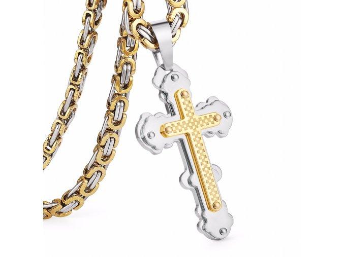 Pánska retiazka s krížom, kráľovský vzor, dve farby, oceľ