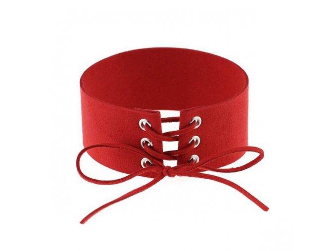 Náhrdelník choker, červená zamatová umelá koža, šnúrka bižutéria