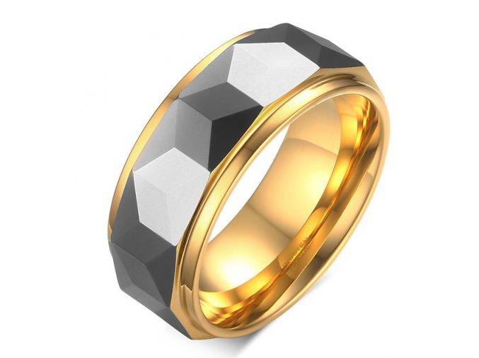 Volfrámový prsteň, geometricky brúsený vyvýšený pás