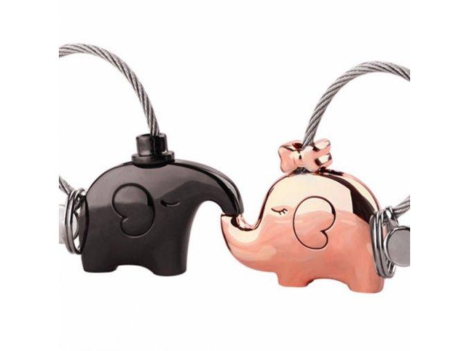 Kľúčenky pre dvoch, zamilované slony, dve farby, lanko