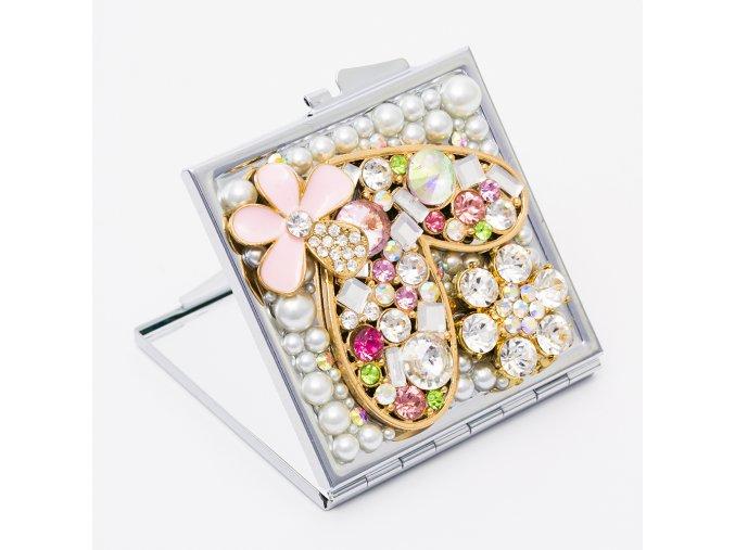 Kozmetické zrkadlo do kabelky pre ženu, zirkónové srdce a kvety (1)
