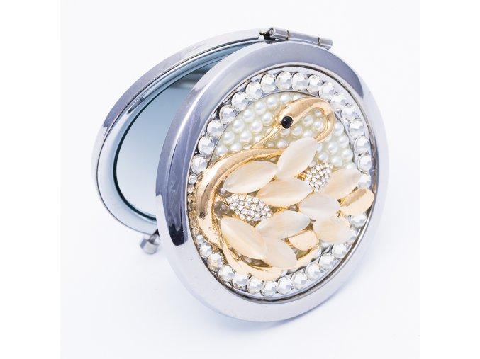 Kozmetické zrkadlo do kabelky pre ženu, okrúhle, kamienková labuť (2)