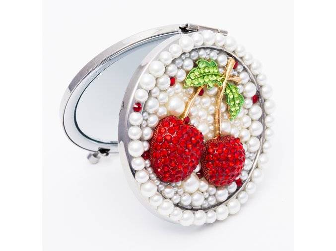 Kozmetické zrkadlo do kabelky pre ženu, okrúhle, červené čerešne (2)