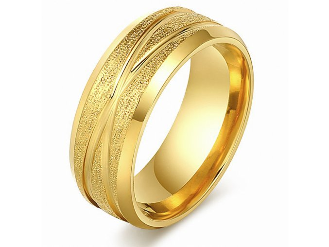 Prsteň z chirurgickej ocele, pieskovanie, zlatá farba a ryhy