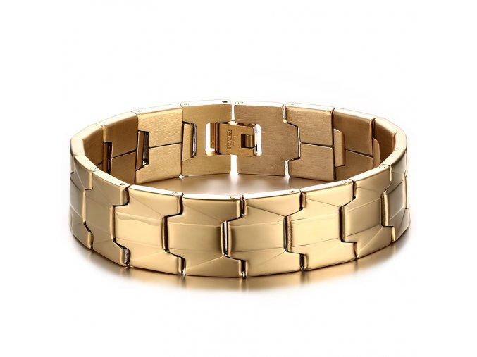 Pánsky náramok na ruku z chirurgickej ocele, zlatá farba