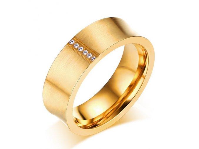 Svadobná obrúčka pre ženu, zamatová zlatá farba, číre zirkóny, oceľ