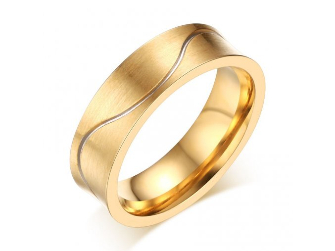 Pánska svadobná obrúčka, zamatová zlatá farba, vlnká, chirurgická oceľ
