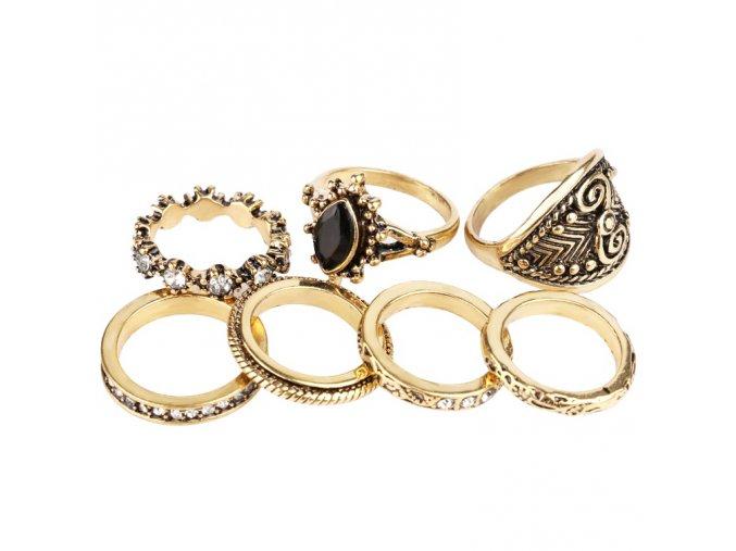 Dámsky set prsteňov, zlatá farba, patinovanie 7 prsteňov