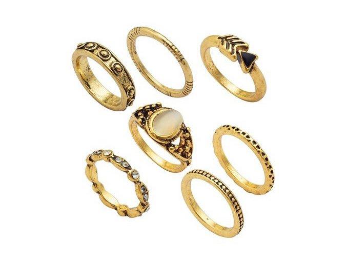 Set presteňov pre ženu, zlatá farba, kamienky 7 prsteňov
