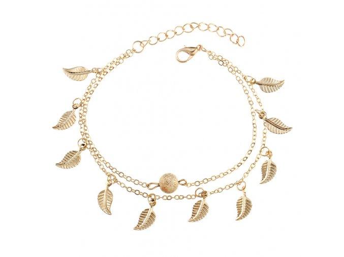 Retiazka na nohu pre ženu, zlatá farba, listy a gulička bižutéria