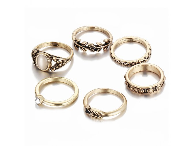 Set presteňov pre ženu, zlatá farba, kamienky 6 prsteňov