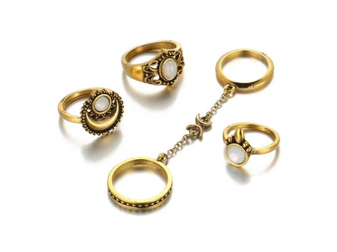 Set presteňov pre ženu, zlatá farba, kamienky a retiazka 5 prsteňov