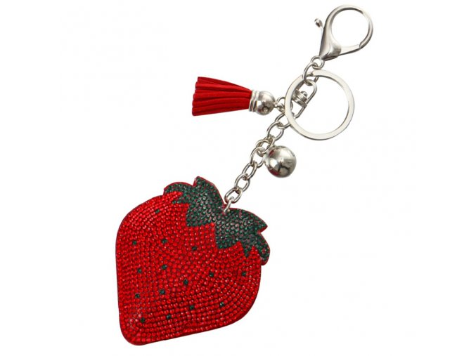 Prívesok na kabelku, jahôdka kamienkami, strapec a gulička