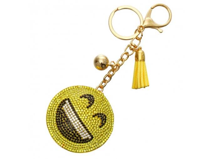 Prívesok na kabelku, žltý šťastný smajlík, strapec a gulička