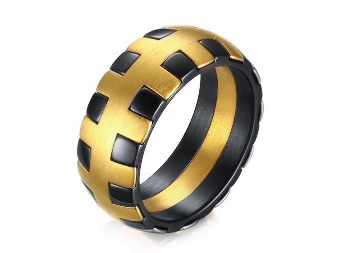 Pánsky prsteň z chirurgickej ocele, zlatá a čierna farba