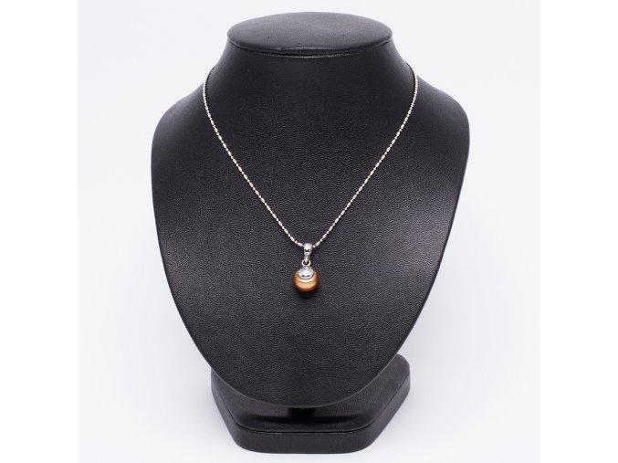 Náhrdelník s príveskom, hnedá perla, bižutéria