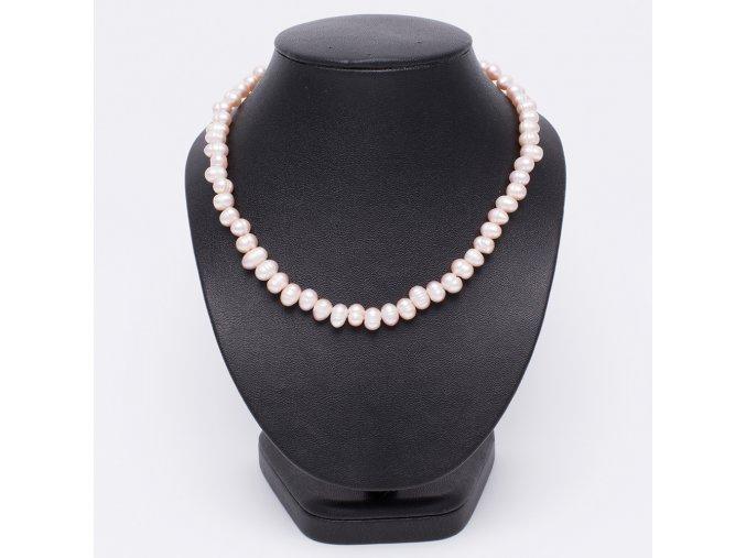 Náhrdelník z ružových riečnych perál, bižutéria