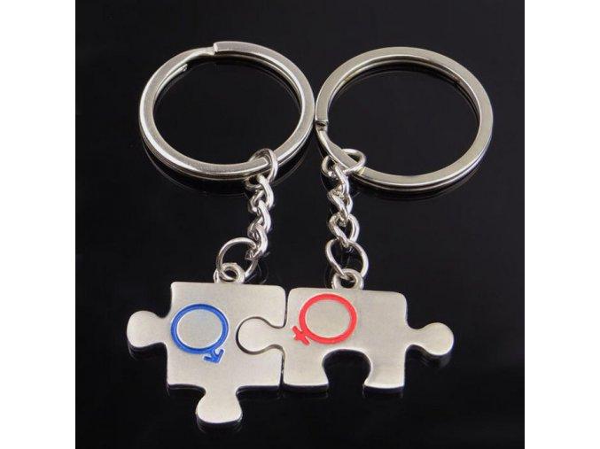 Kľúčenky pre dvoch, puzzle, symbol Ona a On