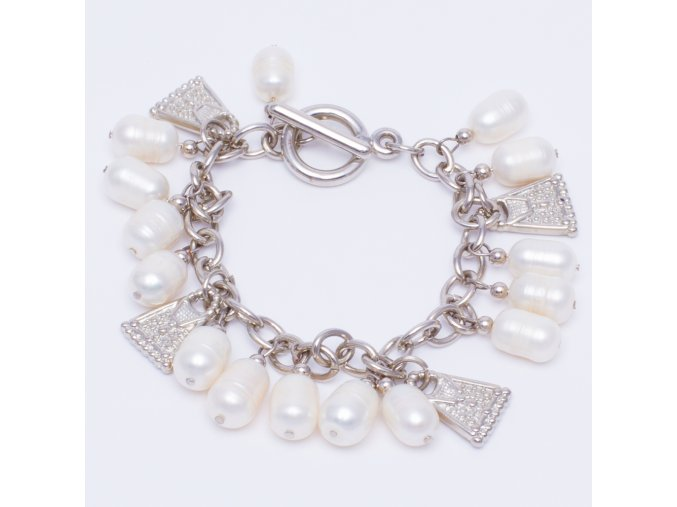 Náramok z riečnych perál, dámska kabelka, bižutéria