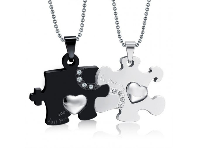 Prívesky pre dvoch z chirurgickej ocele, puzzle a srdce