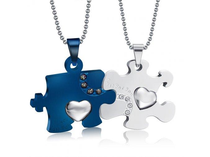 Prívesky pre dvoch, puzzle so srdcom, oceľ striebornej a modrej farby