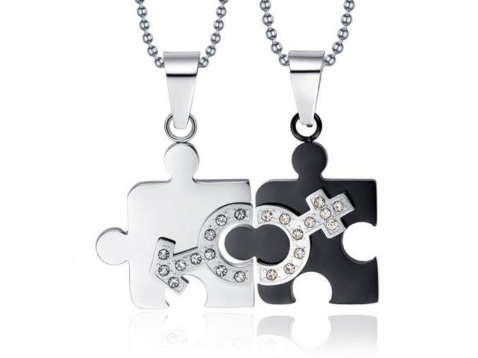 Prívesky pre dvoch puzzle, oceľ striebornej a čiernej farby