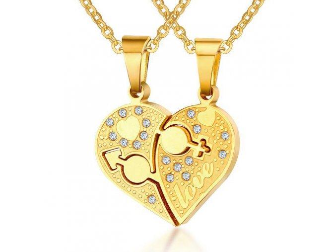 Prívesky predvoch, srdce a číre zirkóny, oceľ zlatej farby