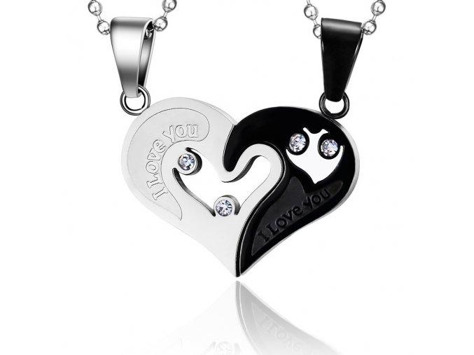 Prívesok pre dvoch z ocele, srdce z nápisom čierna a strieborná farba