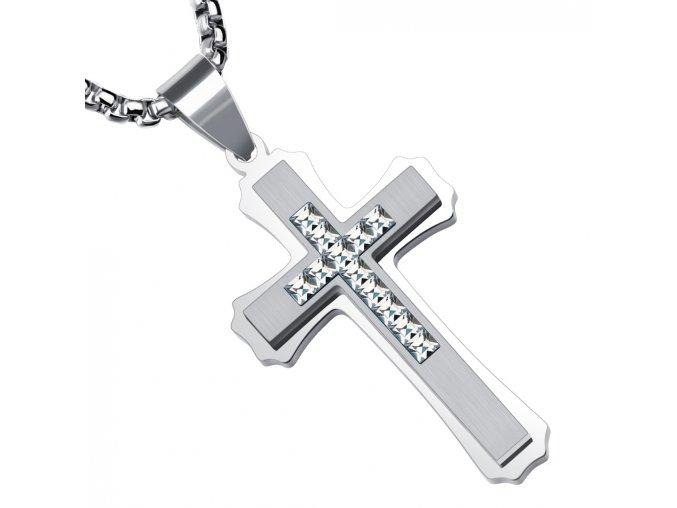 Pánska retiazka s krížom z ocele, strieborná farba a číre zirkóny